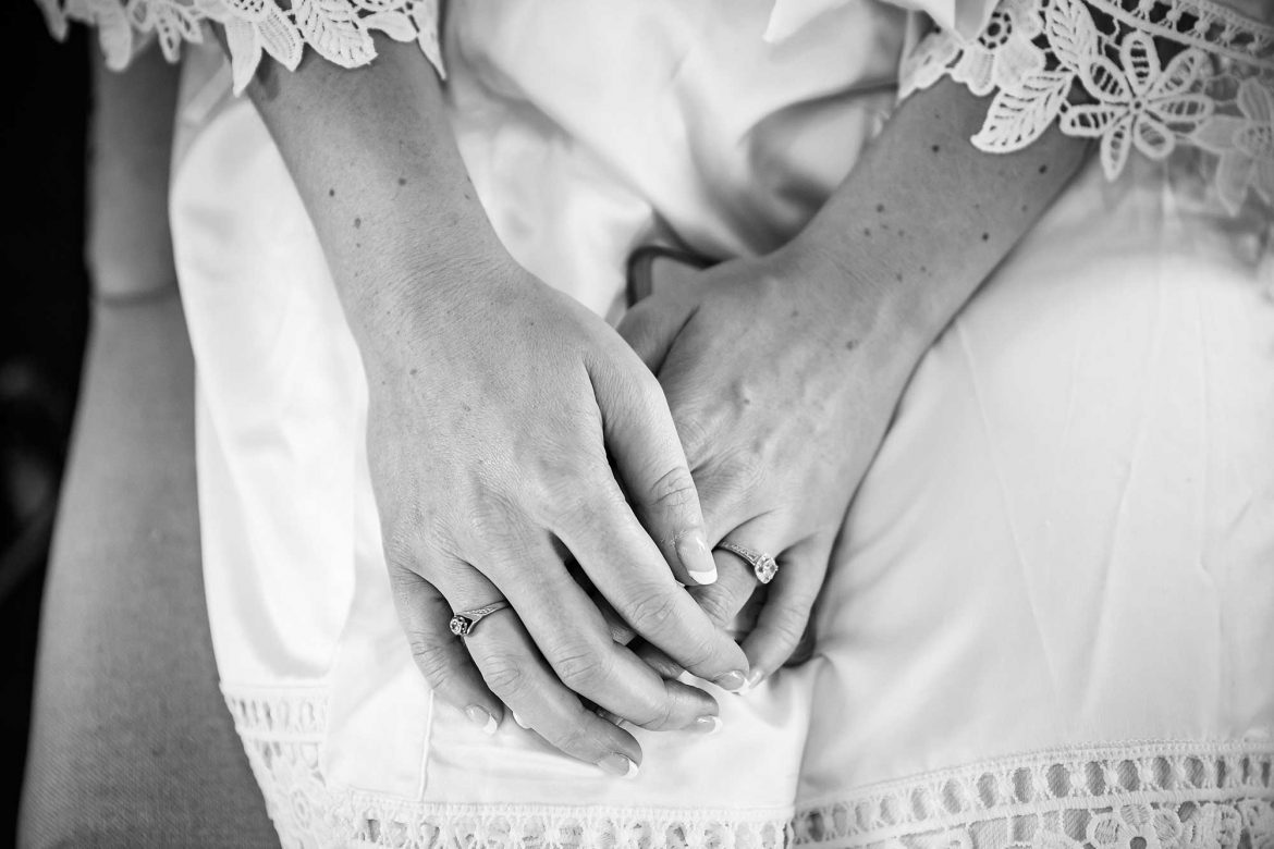 close up of brides hands