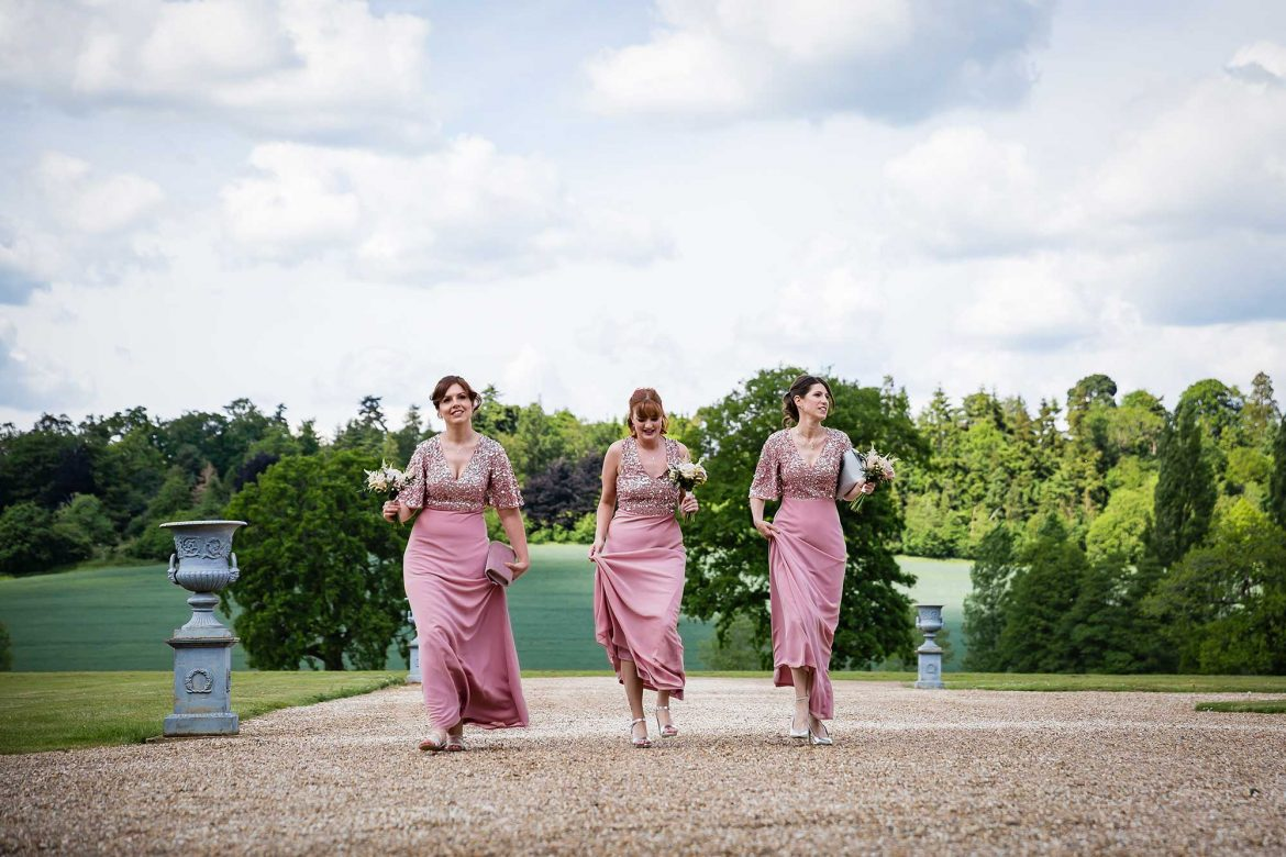 bridesmaids arrive for the Loseley Park Wedding