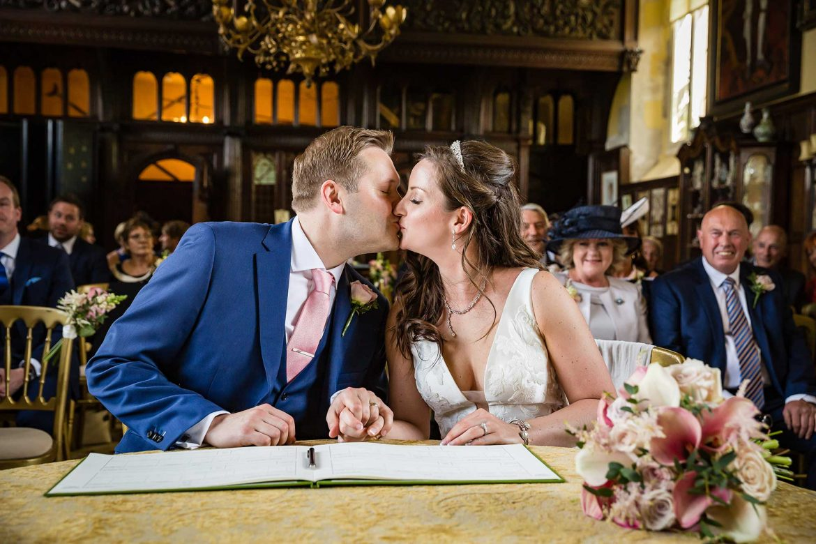 first kiss at Loseley Park wedding