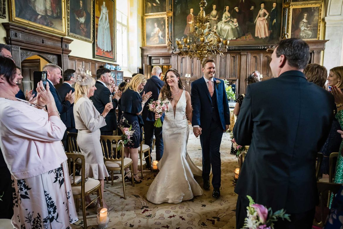 bride and groom married at Loseley Park