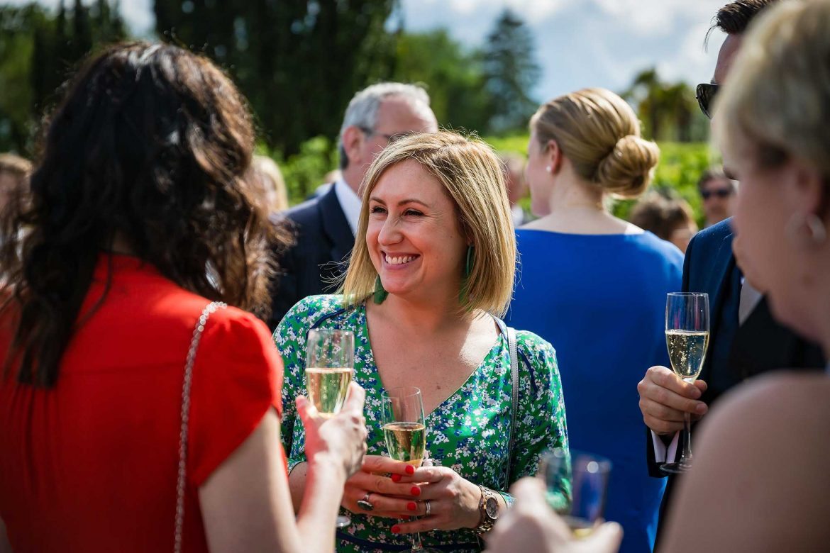 guests drink champagne