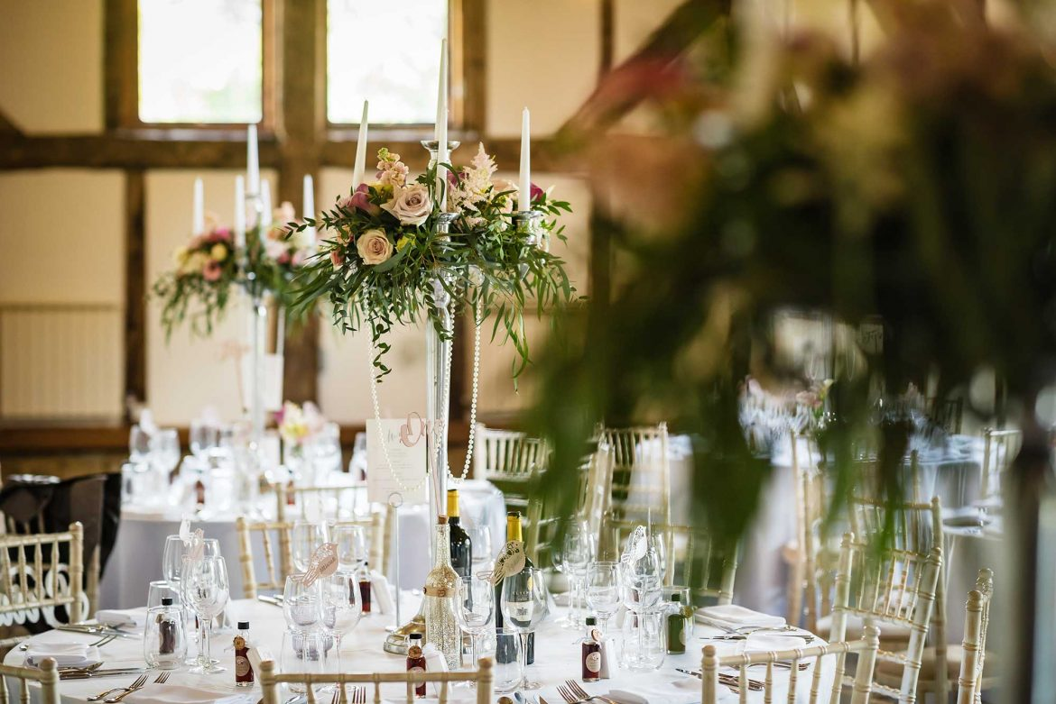high table decorations barn wedding