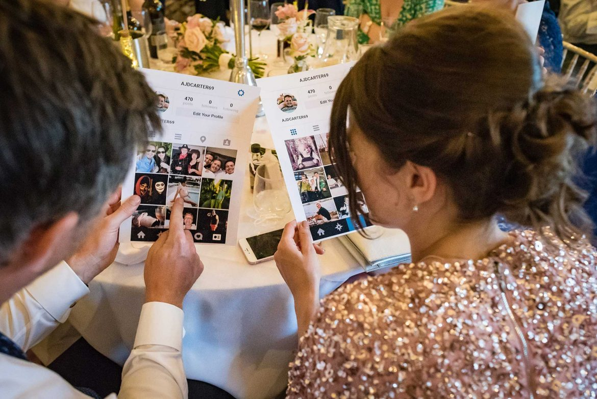 guests look at photos